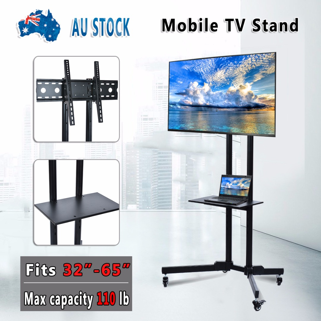 "Universal Table TV Stand for 32""-65""LED LCD Plasma TV Trolley Stand Adjustable Free Lifting Mobile TV Table Stand With Wheels"