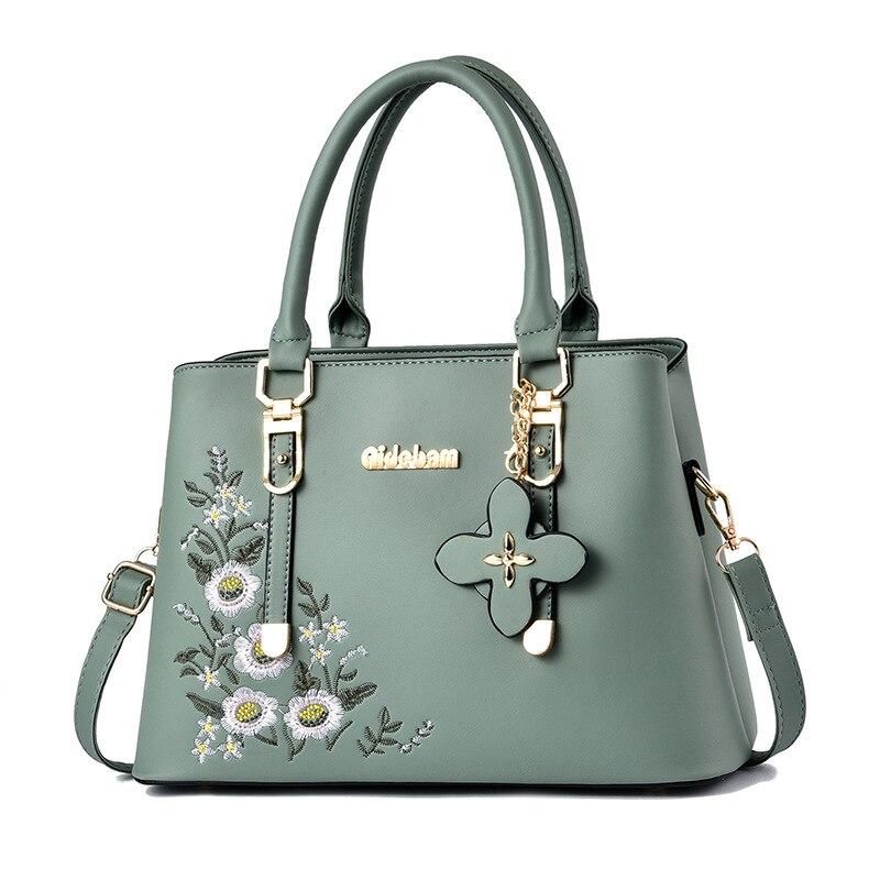 2021 Vintage Handbag Casual Tote Fashion Embroidery Messenger Bags Shoulder Bag Top-Handle Purse Wallet Leather Female bag