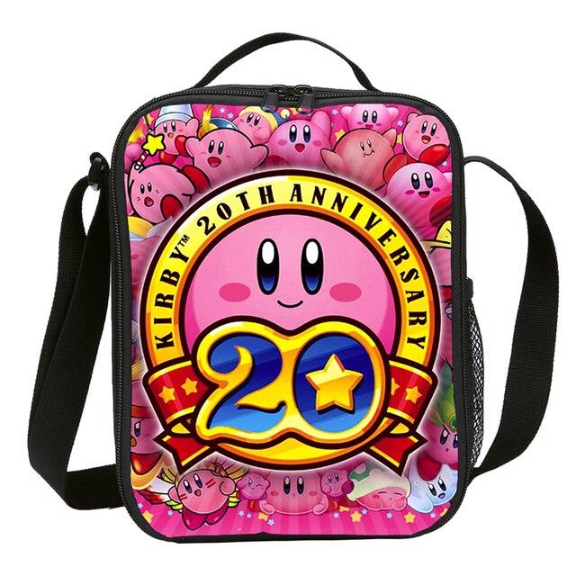 Mini Lunch Bag Kids Boys Girls Fashion Cute Cartoon Anime Kirby 3D Printing Ice Bag Insulated Thermal Picnic Lunchbox Sac A Main