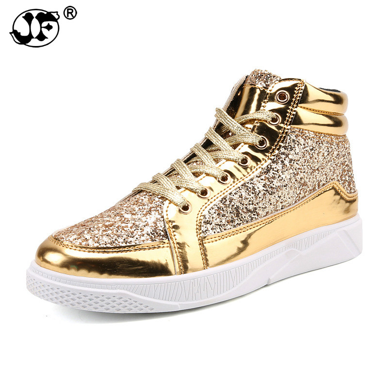 Male Skate Shoes Silver Pink Lovers Sequined Shoes Rivets Punk Glitter Shoes Men Sneakers Youth High Top Street Flats Fgb7