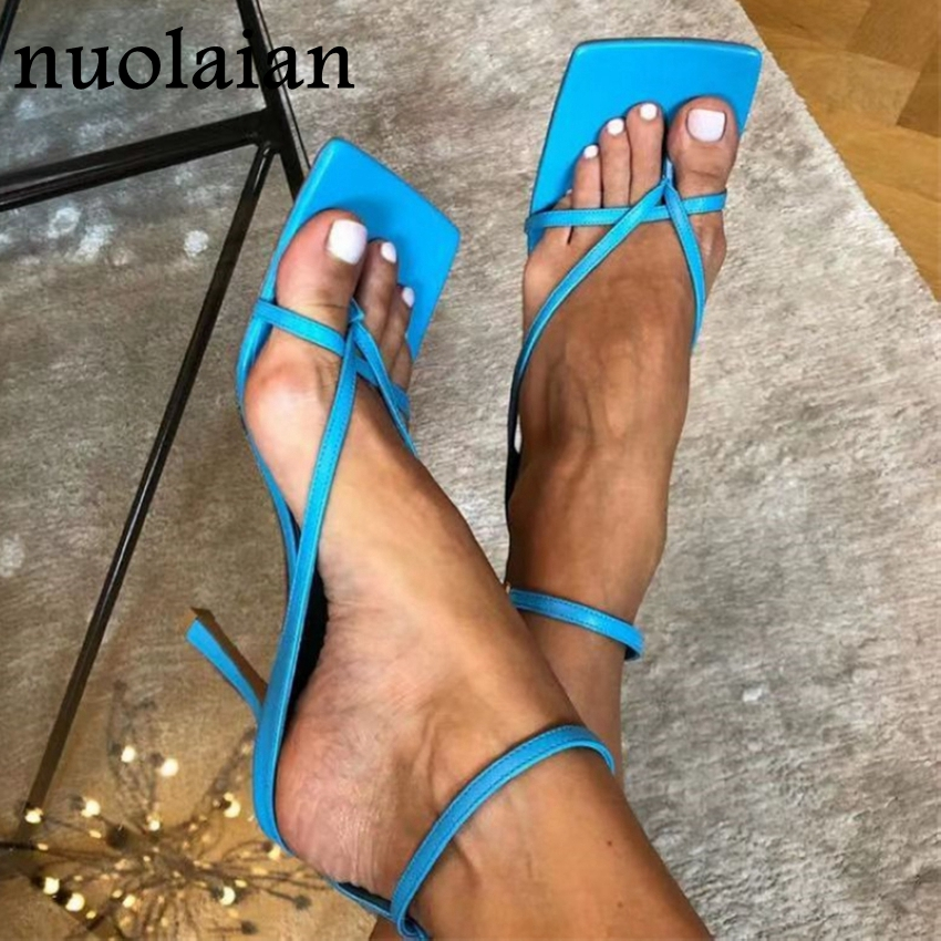9CM High Heel Shoes Woman Summer Pumps High Heels Ankle Strap Sandals Womens Pump Shoes Leather Sandal Shoe Gladiator Chaussure