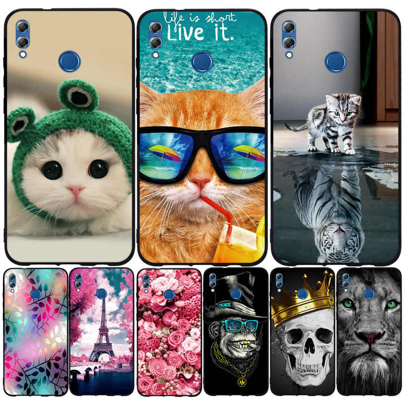 Huawei 社の名誉 8X 最大ケースカバーソフトシリコン tpu かわいい猫塗装裏表紙 huawei 社の名誉 8 × 8X 最大保護電話シェル