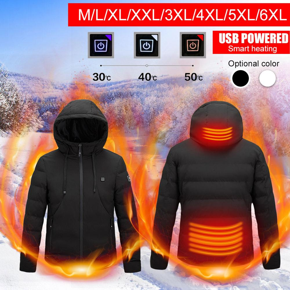 Новый электрический с подогревом куртки открытый жилет пальто USB длинные рукава электрический обогрев с капюшоном куртки теплый зимний термальный одежда