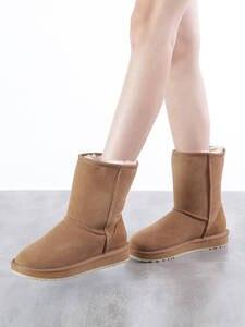 INOE классические базовые зимние женские ботинки из овечьей кожи замшевые сапоги до середины икры без шнуровки на натуральном меху удобная з...