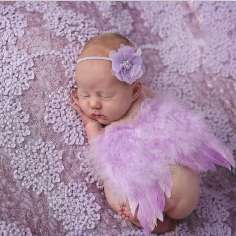 Newborn Photography Accessories Baby Photo Props Feather Angel Wings+Handbands Costumes For Baby Souvenirs Crochet Costumes