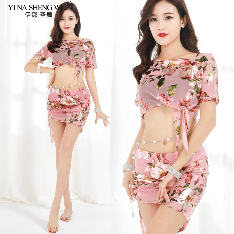 Belly Dance Costume New Women Practice Suit Printing Flower Top+Skirt Oriental Dance Sexy BellyDancing Dress Performance Clothes