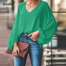 LISALA Womens Blouse Lantern Sleeve V Neck Autumn Plus Size Tops female fashion Blusa Green 5XL
