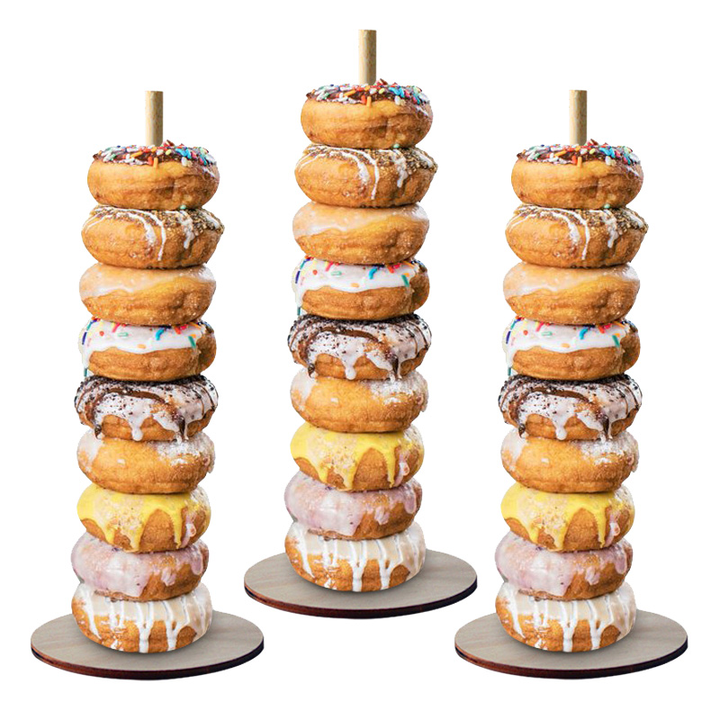Image 2 - Donut Wall Stand Wedding Decoration DIY Doughnut Display Bar With Base Baby Shower Birthday Party Cake Dessert Stand Table Decor-in Party DIY Decorations from Home & Garden