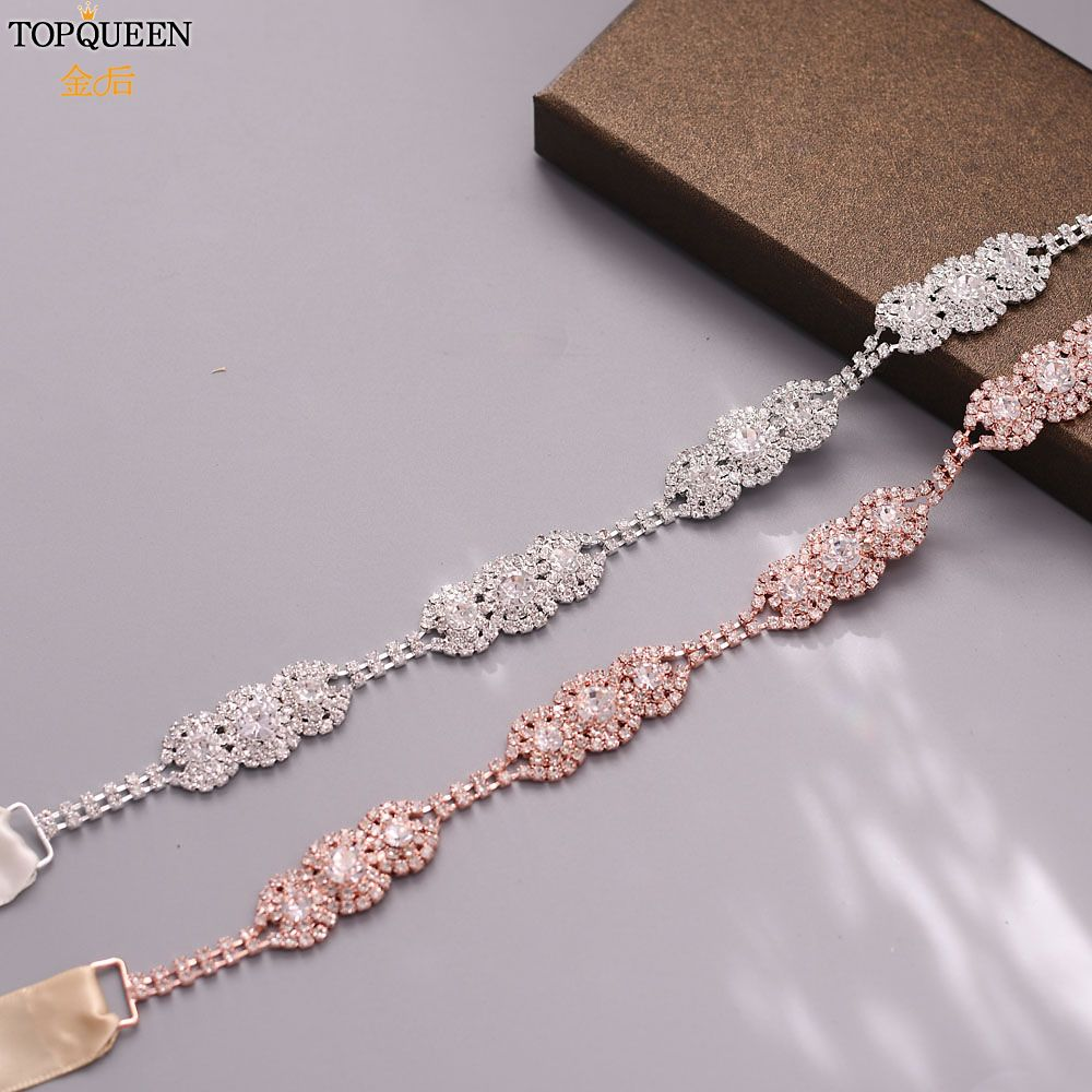 TOPQUEEN S215 Fashion Wedding Rhinestone Belt For A Evening Dress Rhinestones Bridal Sash For Wedding Woman's Party Belt