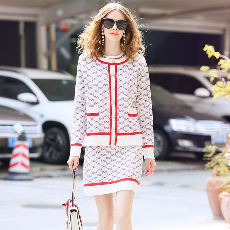 2019 Autumn Clothing WOMEN'S Dress New Style Jacquard Sweater + Cardigan + Skirt-Style Set
