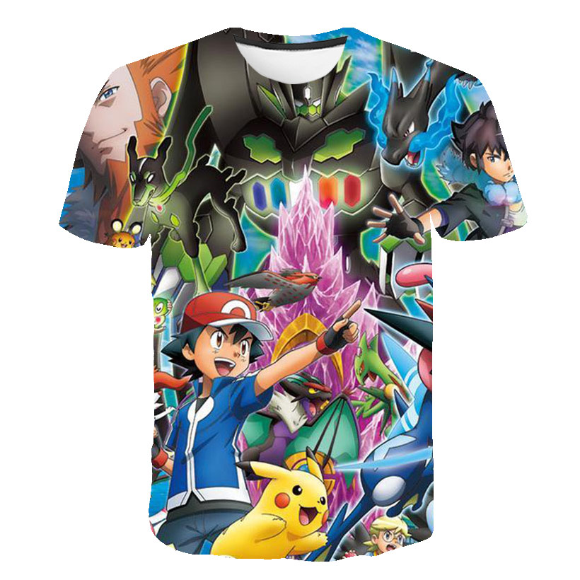 3D Pokemon T-shirt Japan Cartoon Pikachu T-shirt Clothes Boys Clothes Child Cool Anime Aesthetic Harajuku Fashion Streetwear