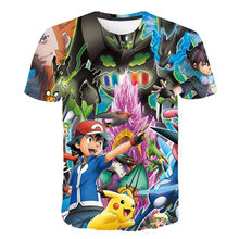 3D Pokemon T-shirt Japan Cartoon Pikachu T-shirt Kleding Jongens Kleding Kind Cool Anime Esthetische Harajuku Mode Streetwear(China)