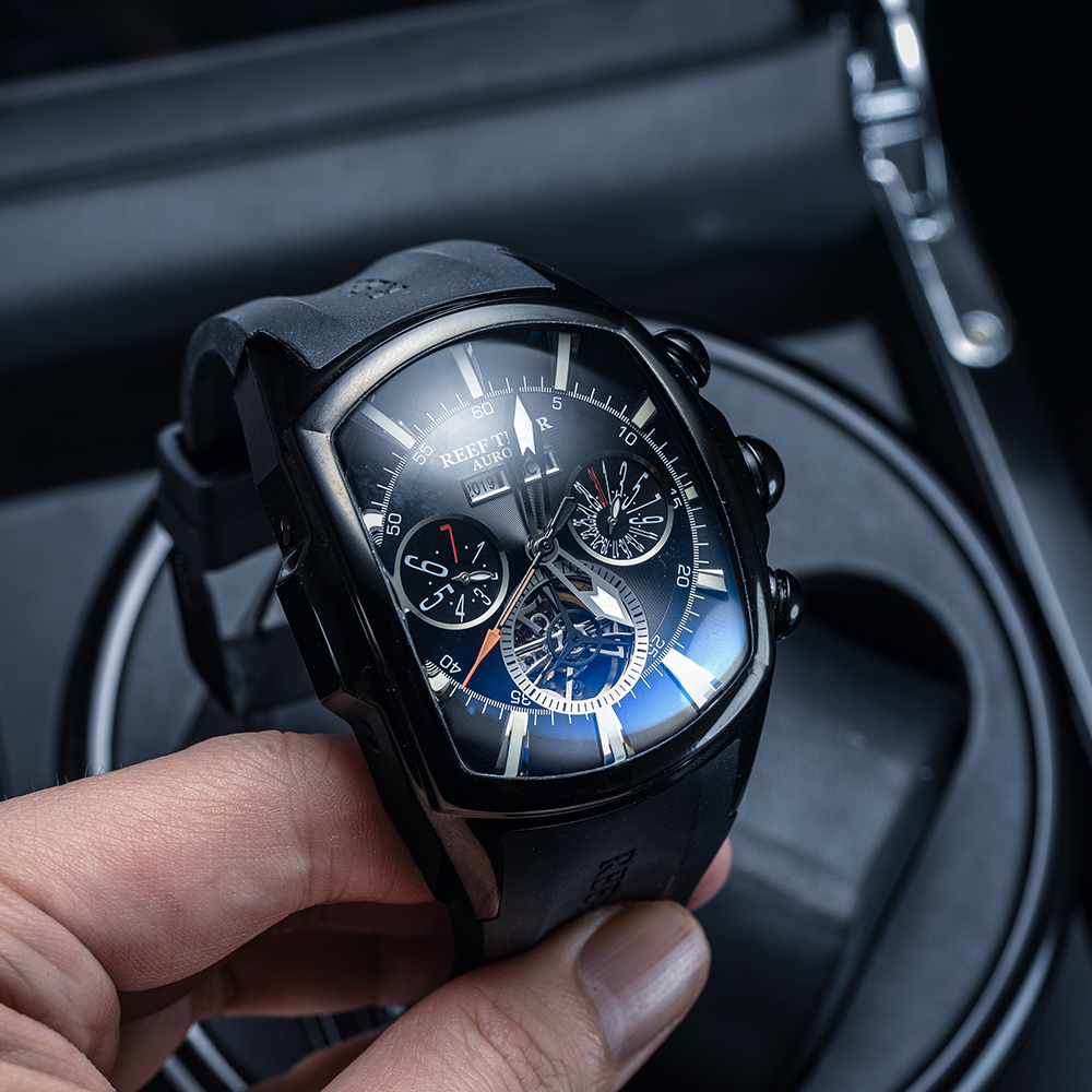 Reef Tiger/RT Big Sport Watch Men Luminous Analog Tourbillon Watches Top Brand Blue Rose Gold Watch  relogio masculino RGA3069 2
