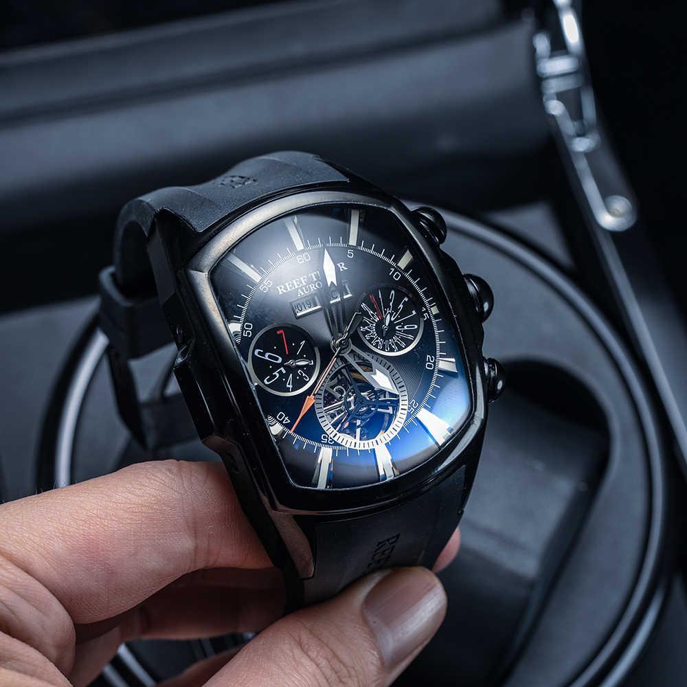 Reef Tiger/RT บิ๊กนาฬิกาผู้ชายนาฬิกา Luminous Analog Tourbillon นาฬิกายี่ห้อ Blue Rose นาฬิกาทอง relogio masculino RGA3069