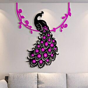 Espejo de flores de pavo real de estilo chino pegatinas de pared 3D decorativo hogar sala de estar dormitorio DIY decoración Calcomanía para refrigerador