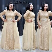 High Quality Elegant African Women Clothing Plus Size 3XL Evening Tunic Party Dress Formal Sequined Dress Long Vestido De Festa