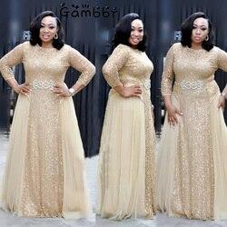 Ropa De mujer africana elegante De alta calidad De talla grande 3XL De noche Vestido túnica De fiesta Formal con lentejuelas Vestido largo De fiesta