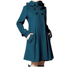 AMSGEND odzież damska moda damska płaszcz zimowy z kapturem solidny dwurzędowy płaszcz z kieszeniami damska kurtka zimowa damska tanie tanio CN (pochodzenie) Wiosna jesień long REGULAR Osób w wieku 18-35 lat Golfem Pojedyncze piersi Na co dzień Pełna coat STANDARD