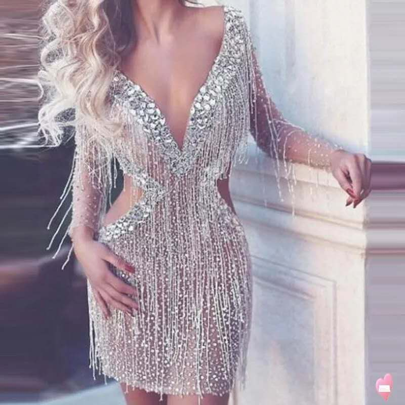 2019 Silver Rhinestones Fringes Dress Lady Prom Evening Outfit Bar Singer See Through Mesh Dress Shining Birthday Tassels Dress