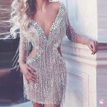 Fringes-Dress Evening-Outfit-Bar Rhinestones Birthday Silver See-Through Shining Lady