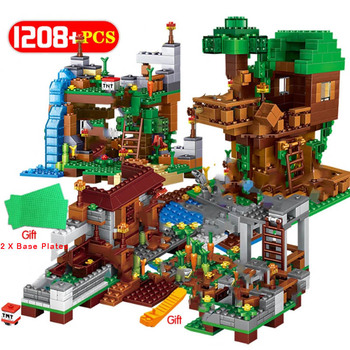 1315pcs Compatible 21137 My World Building Blocks The Mountain Cave Village With Elevator figures City Bricks Toys For Children huiqibao 686pcs magic world hedwig building blocks city wizarding world enchanter owl animal figures bricks toys for children