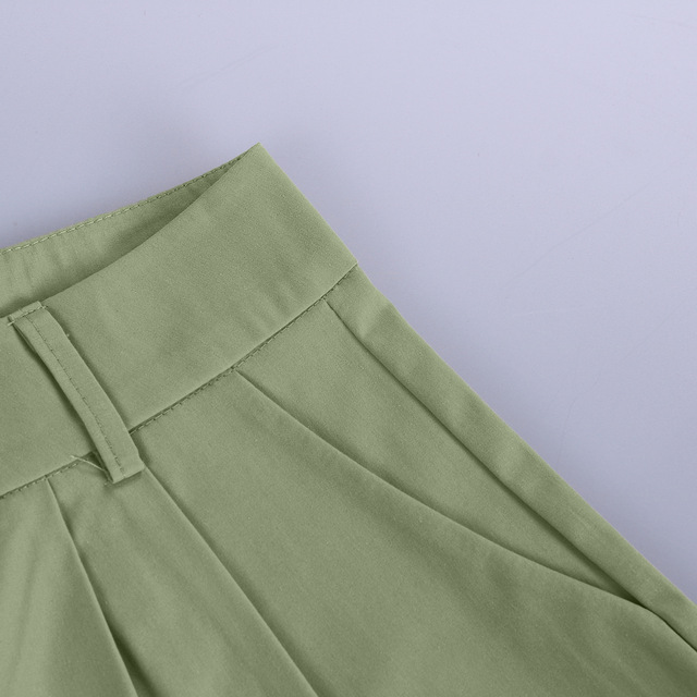 High Waist Shorts Women's Summer 2021 Elegant Soft Solid Color Loose Shorts with Pockets for Ladies Casual Short Femme Trousers 5