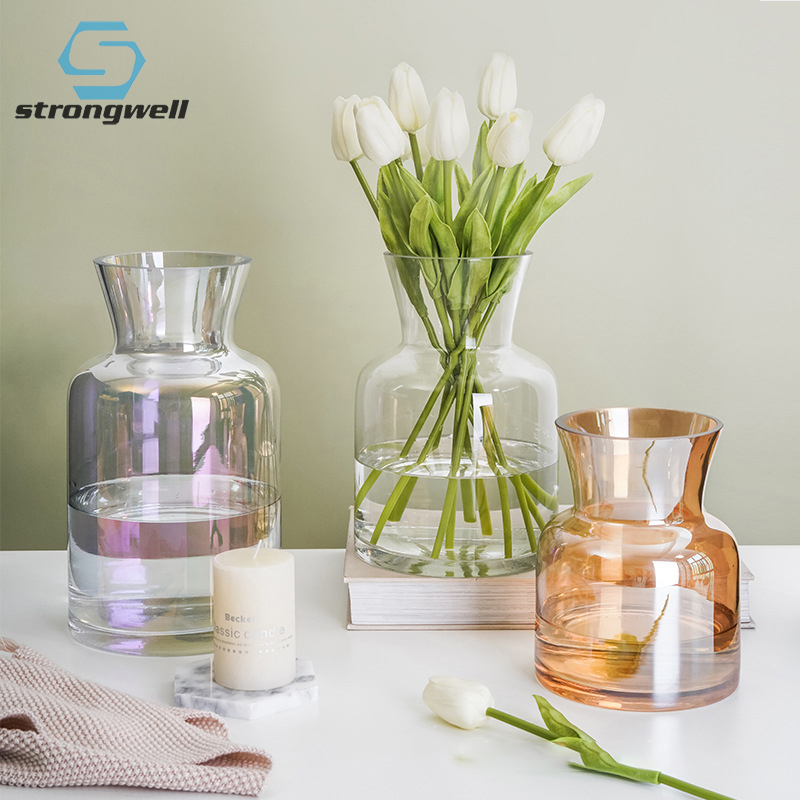 19.49US $ 25% OFF Strongwell Nordic Color Glass Vase Transparent Hydroponic Flower Vase Home Decorat...