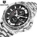 Benyar 2019 nova marca de luxo relógio quartzo masculino à prova dstainless água aço inoxidável cronógrafo relógio relogio masculino