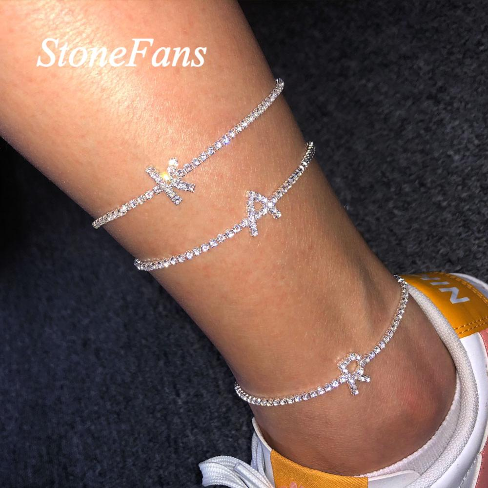 Stonefans Silver Color Rhinestone Letter Anklets Wholesale Jewelry for Women Bling Tennis Chain Alphabet Ankle Bracelet Jewelry