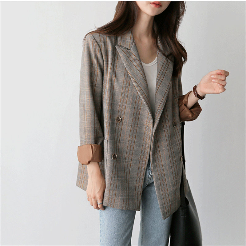 HziriP Plaid Office Lady Loose New Arrival 2020 Hot Retro Women Coats Brief All-Match Casual Blazers Vintage Chic Plus Size