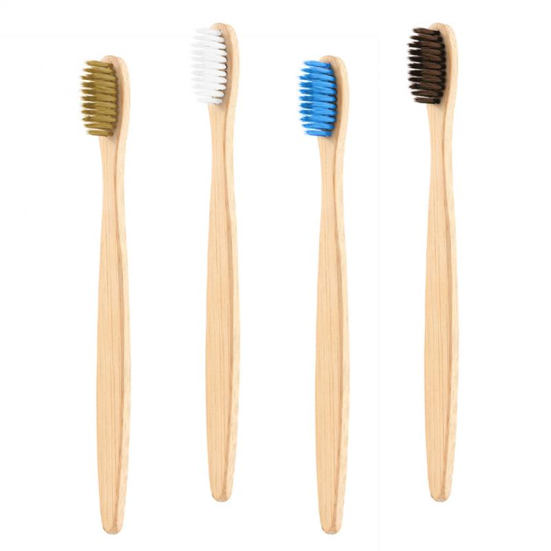 4 Colors Natural Bamboo Toothbrush Flat Handle Soft Bristle Toothbrush Adult Toothbrush Eco-friendly Oral Care Tool