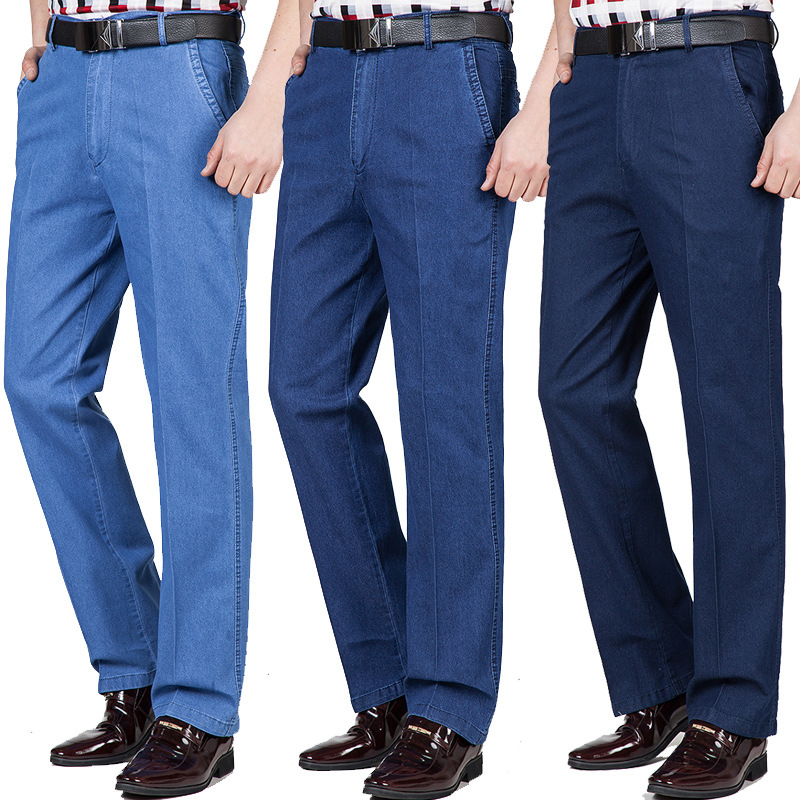 Middle-aged Men's Jeans Autumn And Winter Thick High Waist Loose Stretch Business Casual Denim Trousers Men's Clothing Straight