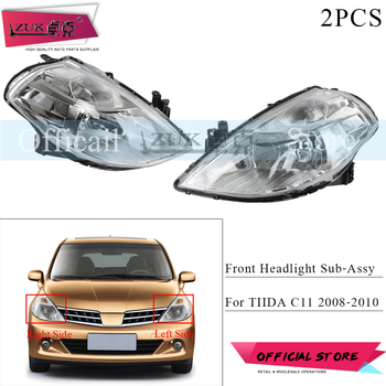 ZUK 2PCS/Lot Front Bumper Headlight Headlamp For NISSAN TIIDA LATIO VERSA C11 2008 2009 2010 Head Light Head Lamp Replacement
