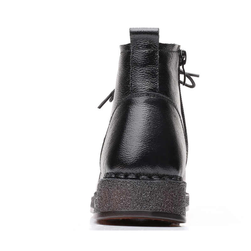 GKTINOO sonbahar dantel-up hakiki deri kadın kısa çizme ayakkabı kadınlar 2019 kış kısa peluş kaymaz yan fermuar deri çizmeler