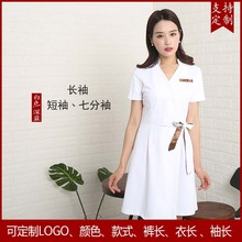 Hotel work clothes beautician dress short sleeved summer white half sleeved skin management uniform customization