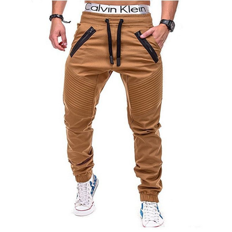 2018 Foreign Trade Hot Selling Workwear Stripes Zipper Trousers Men Woven Fabric Casual Pants Ankle Banded Pants