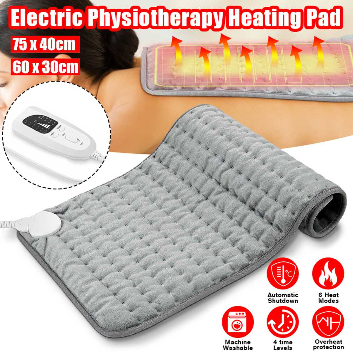 6 Level 110~240V 120W Electric Heating Pad Timer For Shoulder Neck Back Spine Leg Pain Relief Winter Warmer 75x40cm 60x30cm