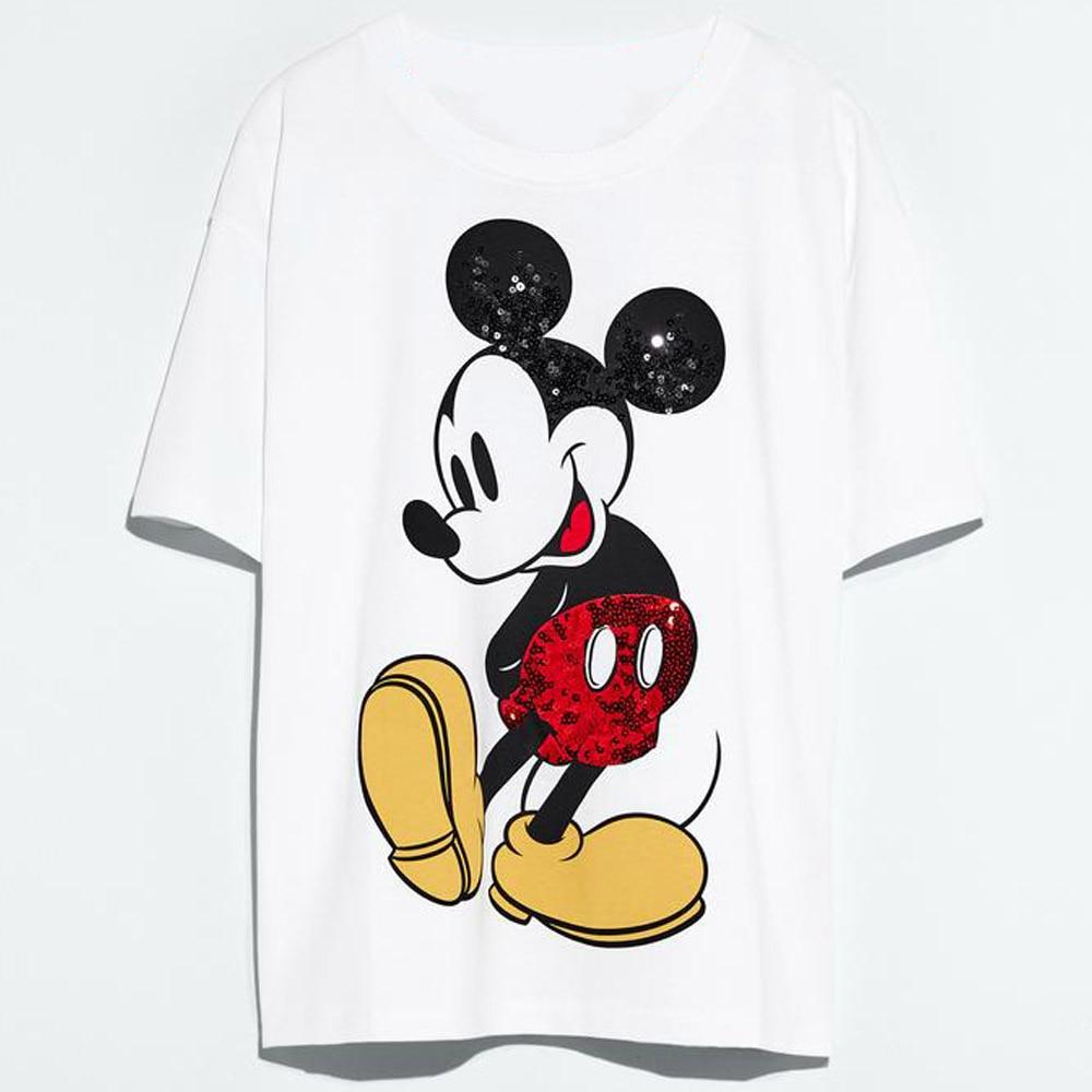Disney Family T-Shirt Fashion Winnie the Pooh Mickey Mouse Stitch Fairy Dumbo SIMBA Cartoon Print Women T-Shirt Cotton Tee Tops 8
