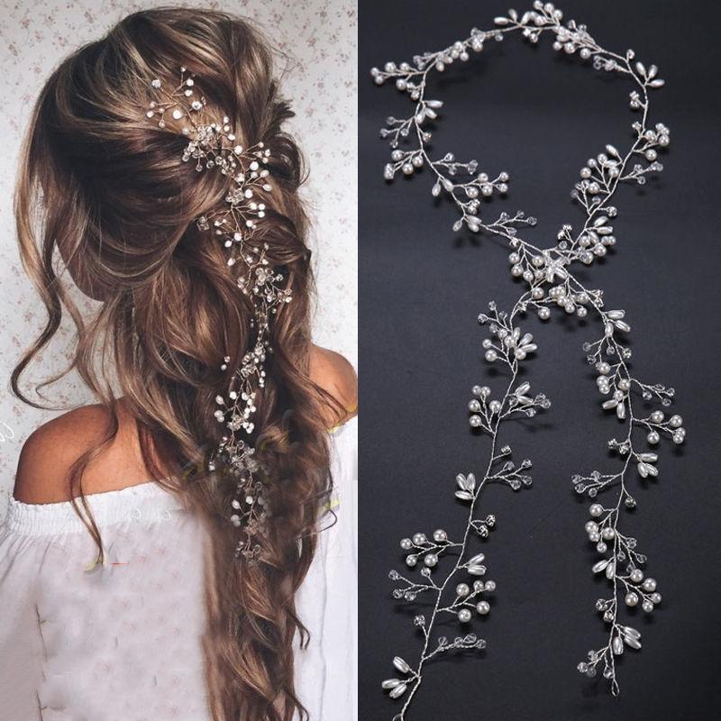Wedding Hair Vine Bridal Accessories Crystal Pearl Headband Long Chain  Headpiece Women's Hair Accessories Decoration|Women's Hair Accessories| -  AliExpress