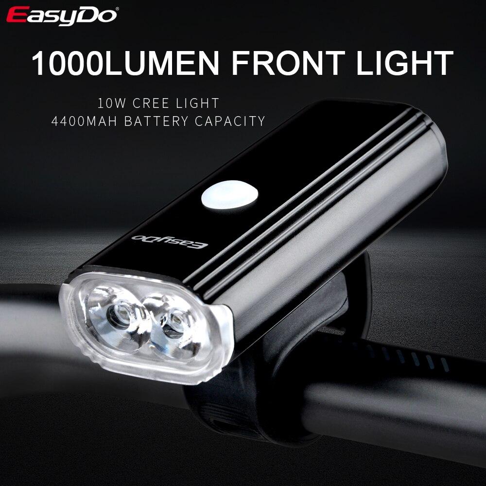 Велосипед Easydo велосипедный головной светильник 10 Вт супер яркий 1000 люмен светодиодный светильник USB 4400 мАч велосипедный передний светильни...
