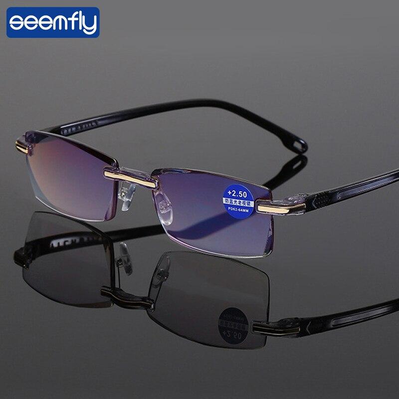 seemfly Reading Glasses Men Anti Blue Rays Presbyopia Goggles Women Vintage Rimless Eyewear Diopter +1.0 1.5 2.0 2.5 3.0 3.5 4.0