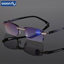 Seemfly-gafas de lectura para hombres y mujeres, lentes antipresbicia con rayos azules, sin montura, Estilo Vintage, dioptrías + 1,0, 1,5, 2,0, 2,5, 3,0, 3,5, 4,0