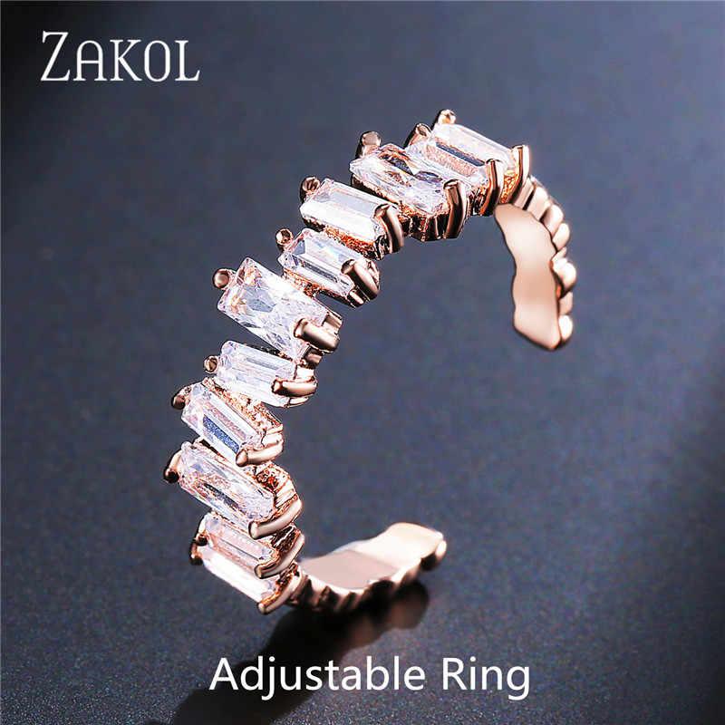 ZAKOL อินเทรนด์ AAA Cubic Zirconia T ต่างหูหินสำหรับผู้หญิงแฟชั่นวงกลมเจ้าสาวงานแต่งงานอุปกรณ์เสริม FSEP2174