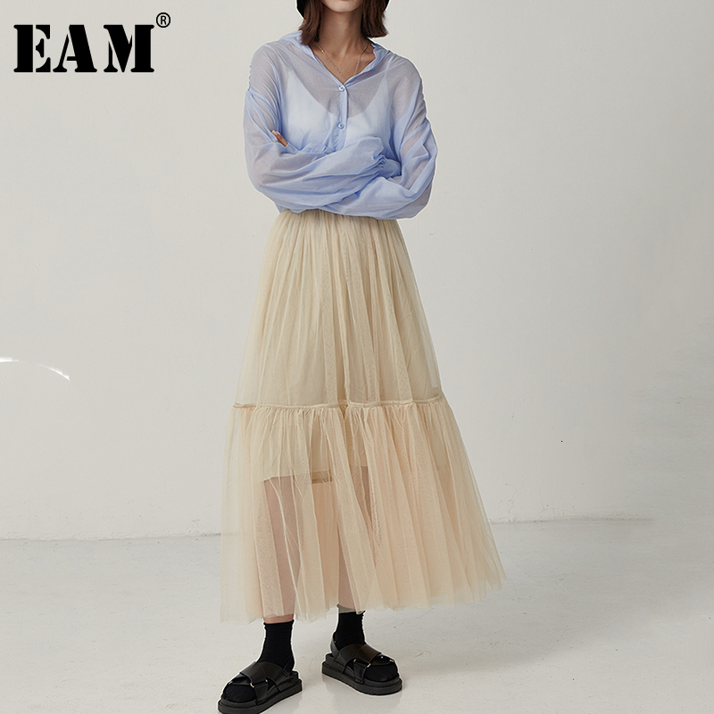 [EAM] High Elastic Waist Multicolor Mesh Split Joint Temperament Half-body Skirt Women Fashion Tide New Spring Autumn 2019 1D059