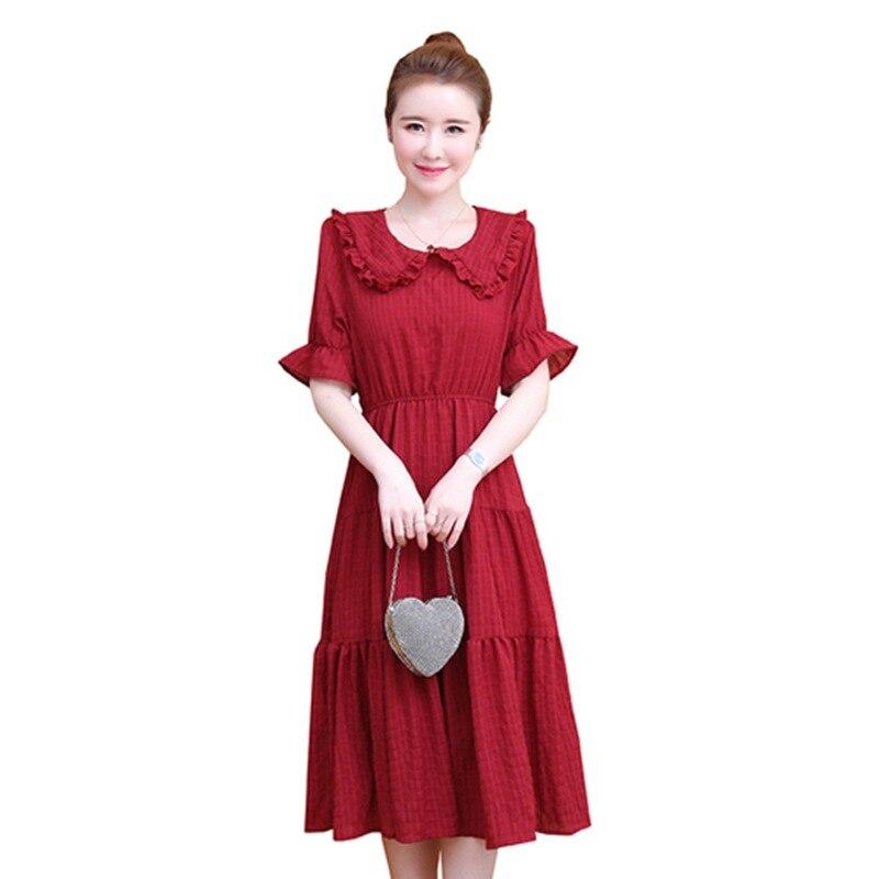 Femme été 2019 nouveau tempérament coréen taille minceur robe en mousseline de soie rouge super fée collier de poupée à manches courtes robes