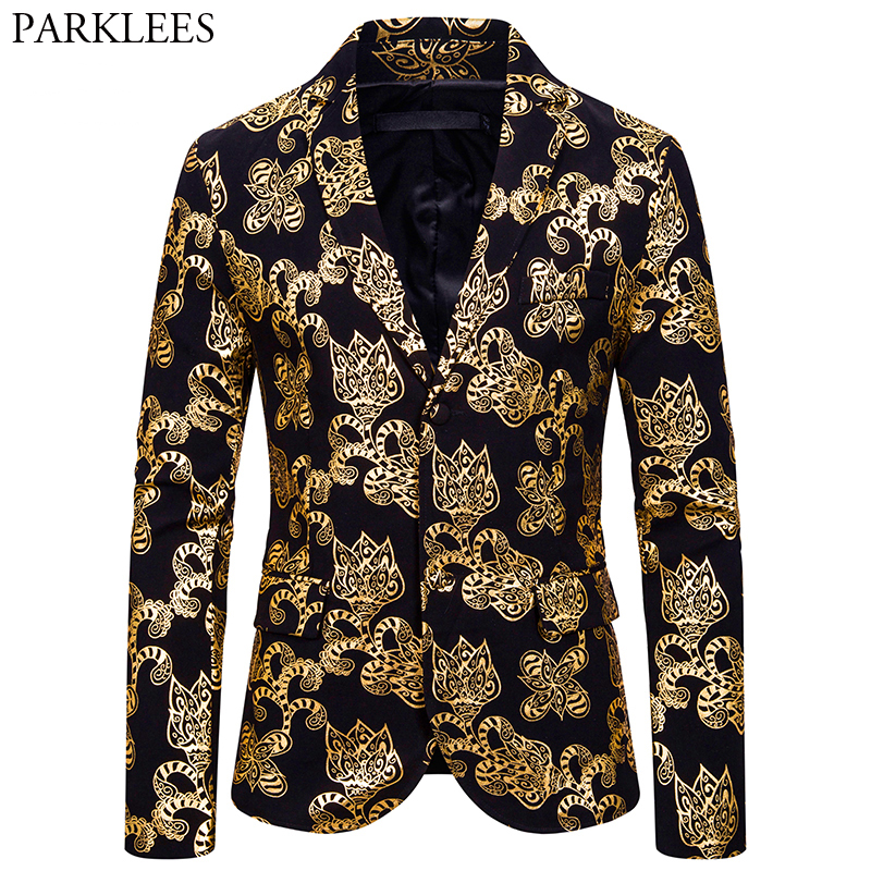 Mens Gold Floral Printed Blazer Jacket 2019 Brand New Single Breasted Notched Lapel Suit Blazer Men Party Prom Stage Costumes 2X