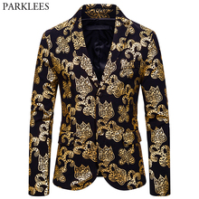 Blazer Jacket Floral-Printed Stage-Costumes Notched Party Gold Lapel Single-Breasted