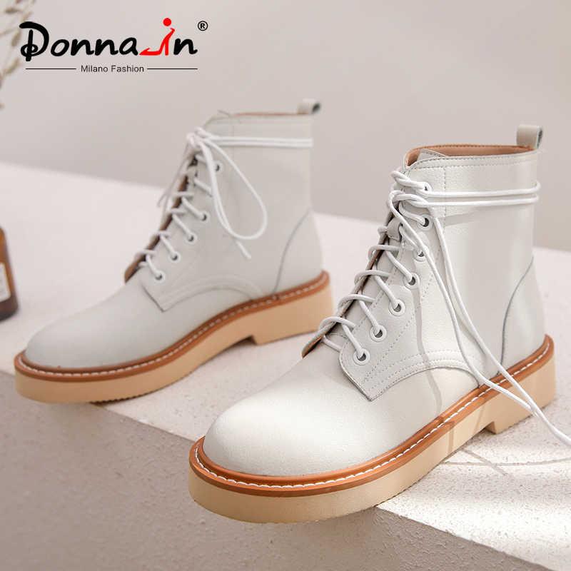 Donna-boş düz Platform yarım çizmeler kadın bahar sonbahar hakiki deri kadın ayakkabı ayakkabı çapraz bağlı rahat ofis bayan botines