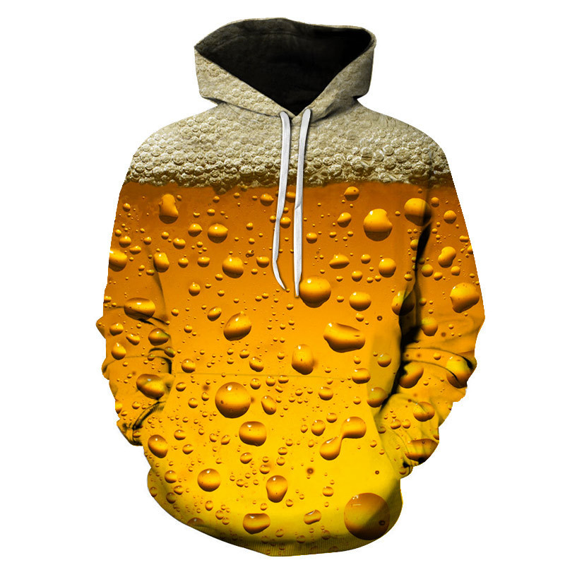 Men's Fashion 3D Beer Printed Hoodie Novelty Sanitary Clothes Hooded Sweatshirt Yellow Autumn Long Sleeved Pullover Top