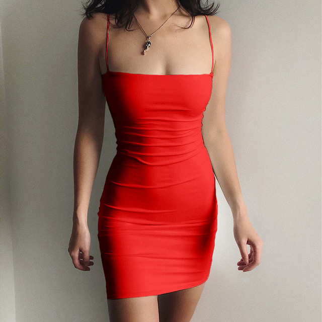 6 Solid colors Sexy Dress Women Spaghetti Strap Dresses Female High Waist Sheath Club Dress Summer Sexy Mini Sleeveless Vestidos 5